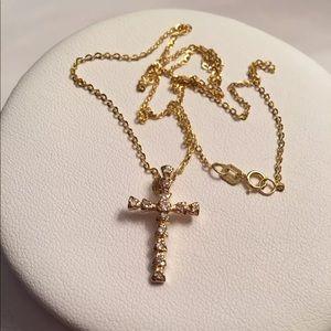 Diamond Cross 14k Yellow Gold Necklace